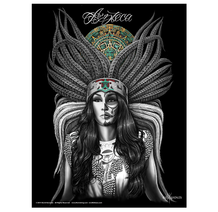 Pachuca drawing girl chola mexican. Azteca poster art pinterest