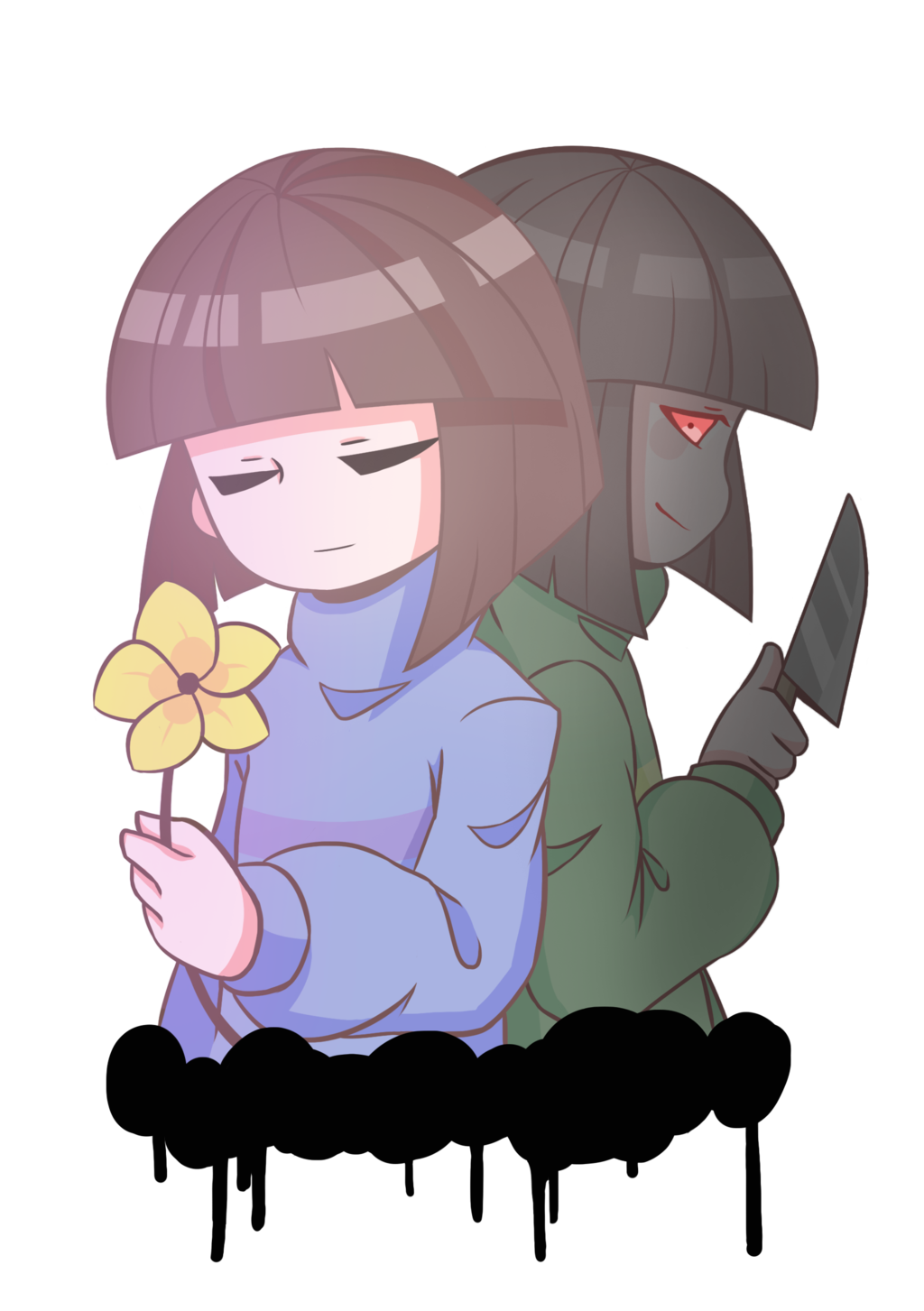 Charra drawing day the dead. Frisk and chara by