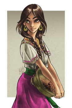 Charra drawing hispanic girl. Collection of mexican