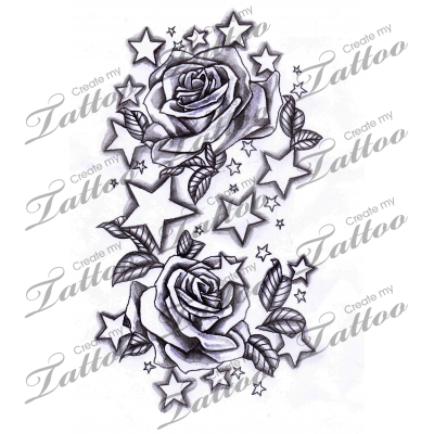 Charra drawing tattooed woman. Flower and star tattoo