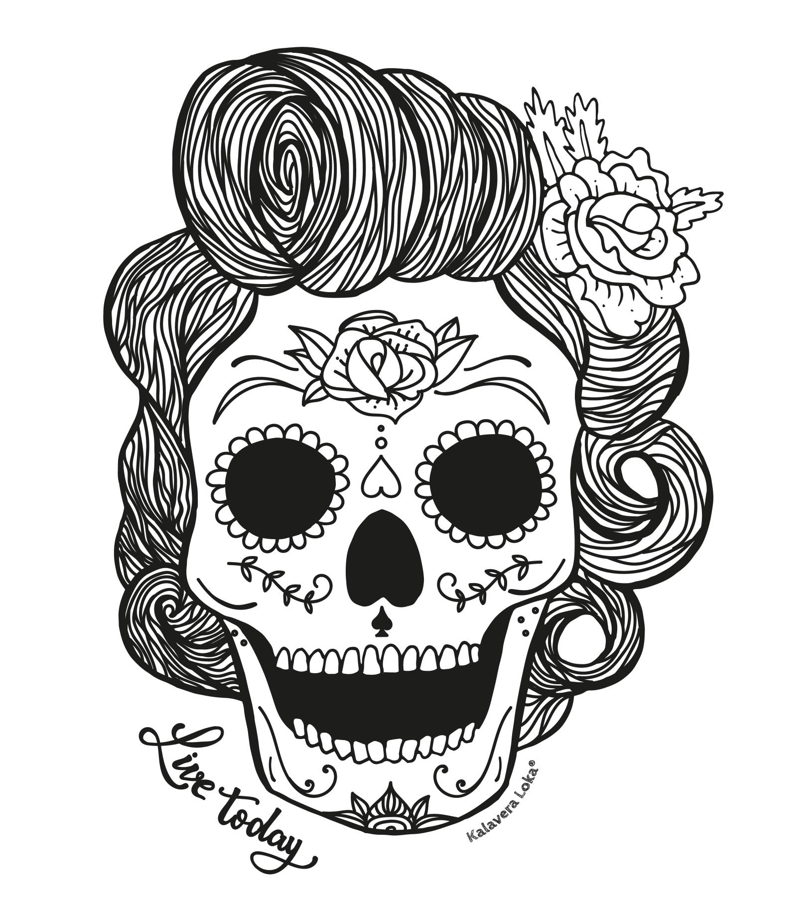 Charra drawing tattooed woman. Mexican girly skull pictures