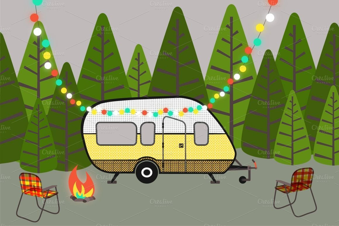 Check clipart bold. Camping scene background all