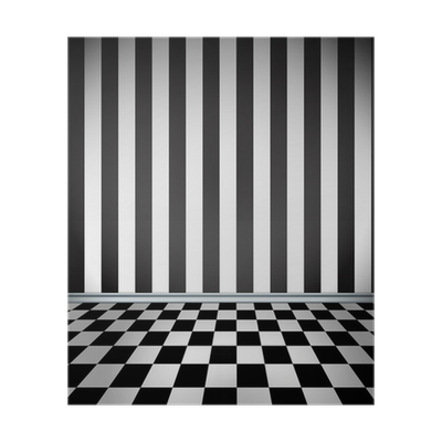 Checkerboard floor png. Room with striped wallpaper