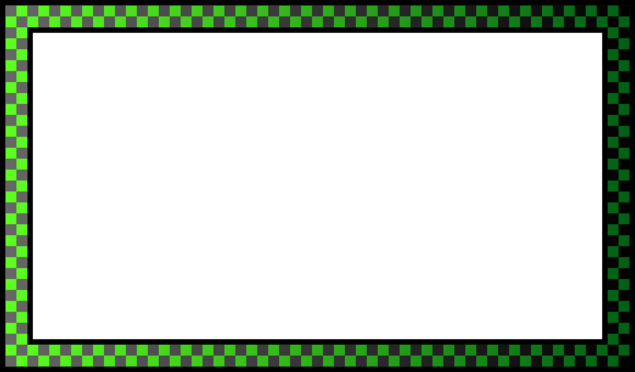 Checkered vector border. Green frame rectangular free