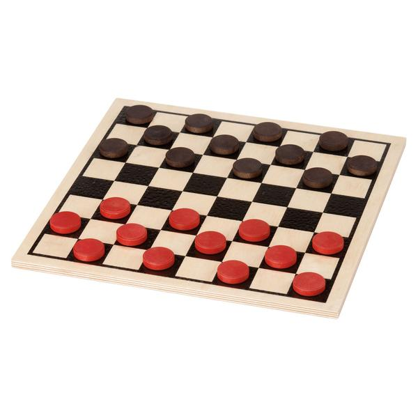 Checkers board. Basic wooden set