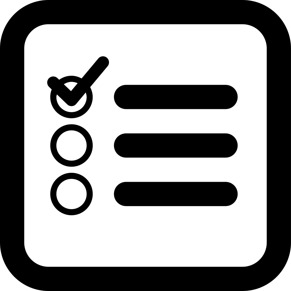 Checklist icon png. Square interface symbol of