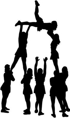 Silhouettes set with digital. Cheerleader clipart cheerleading stunt clipart free stock