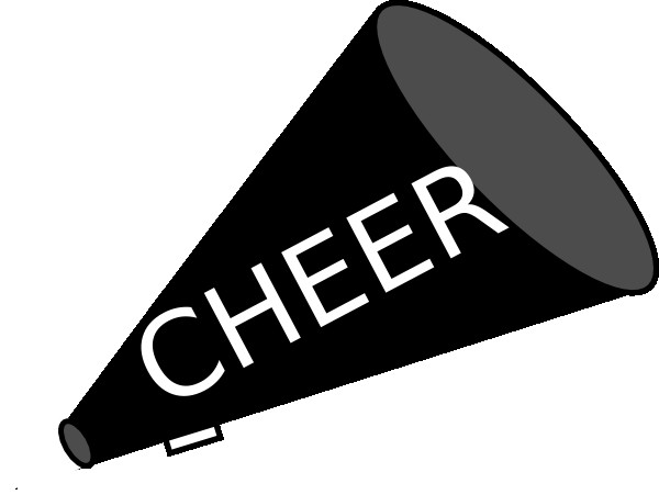 Cheerleading clipart black and white. Cheer megaphone free sillohette