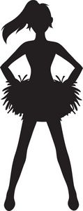 Cheerleading clipart black and white. Free cheer sillohette clip