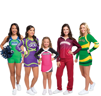 Cheer drawing cheerleader outfit. Sublimation chass cheerleading apparel