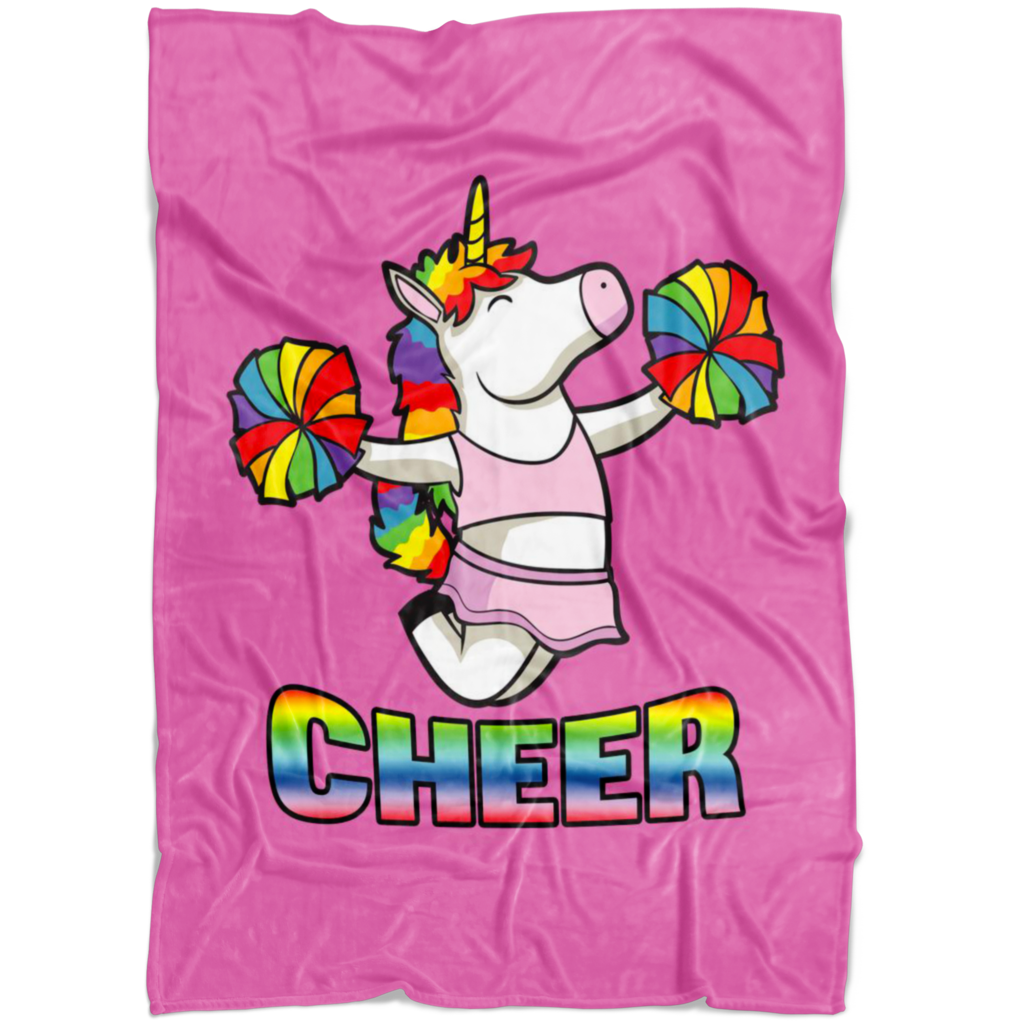 Cheer drawing unicorn. Cheerleading fleece blanket blankets