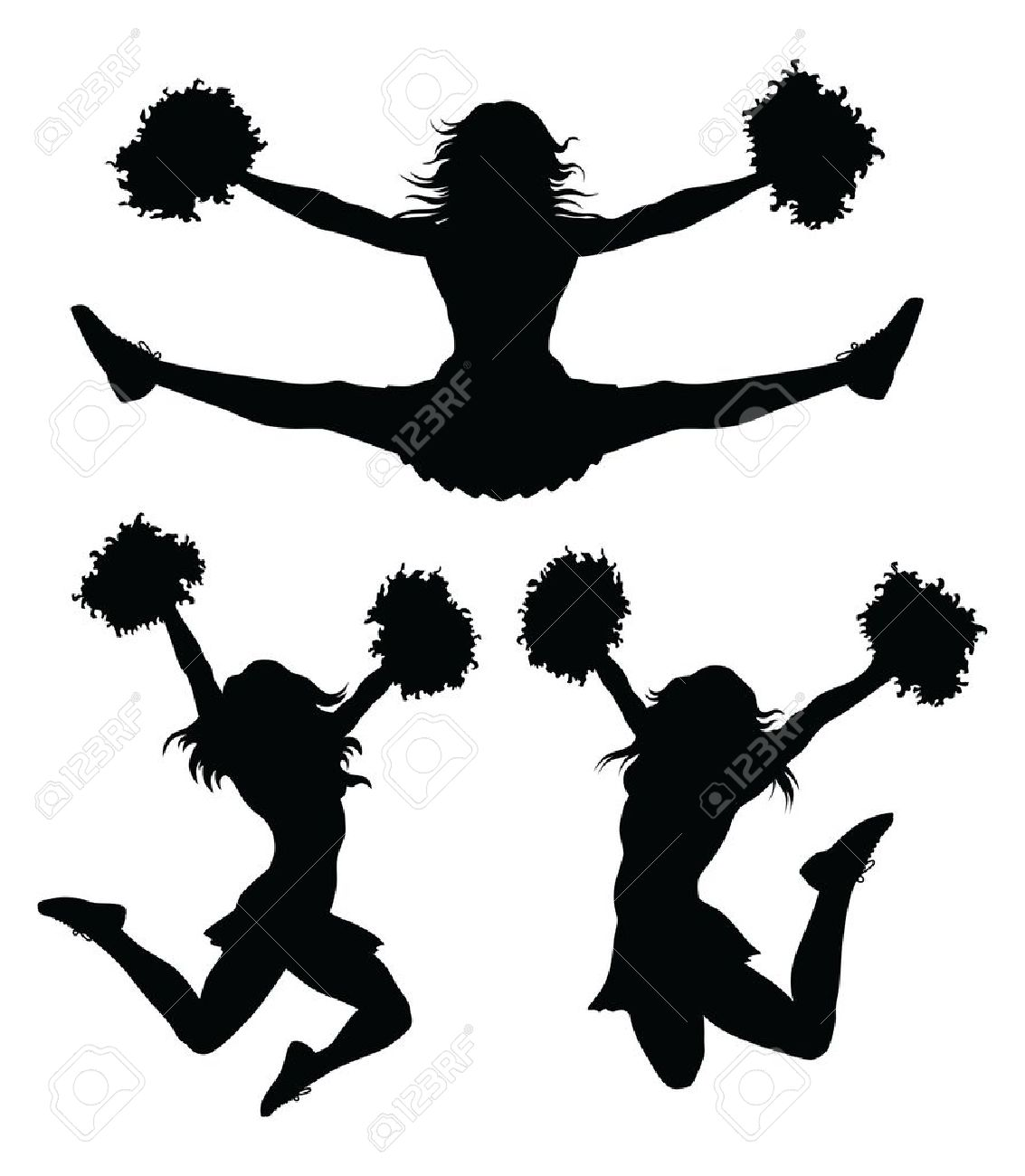 Cheerleading clipart black and white. Cheer silhouette at getdrawings
