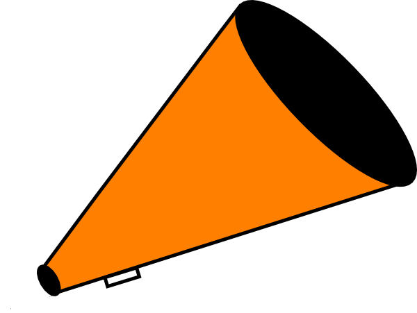 Vector megaphone pom. Orange clip art at