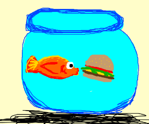 Drunk goldfish eating a. Cheeseburger clipart fish jpg black and white library