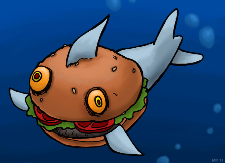 Freaks mutants and monsters. Cheeseburger clipart fish vector black and white stock