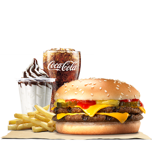 Cheeseburger with fries png. Double stunner burger king
