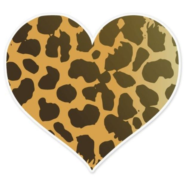 Cheetah clipart heart. Animal print car bumper