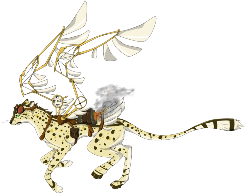 Cheetahs drawing wing. Closed steampunk cheetah adopt