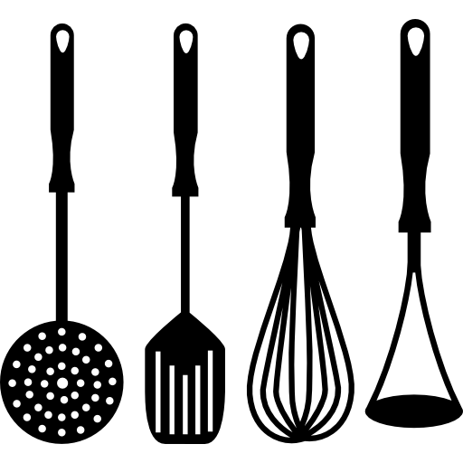 Kitchenware vector kitchen cutlery. Four cooking accessories set