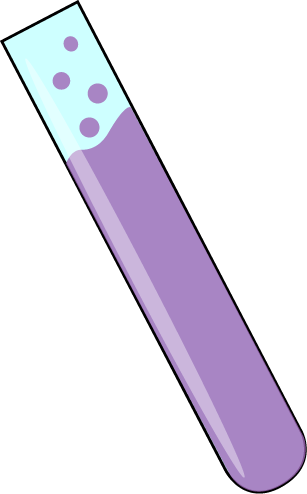 Chemistry clip test tube. Science with purple bubbling