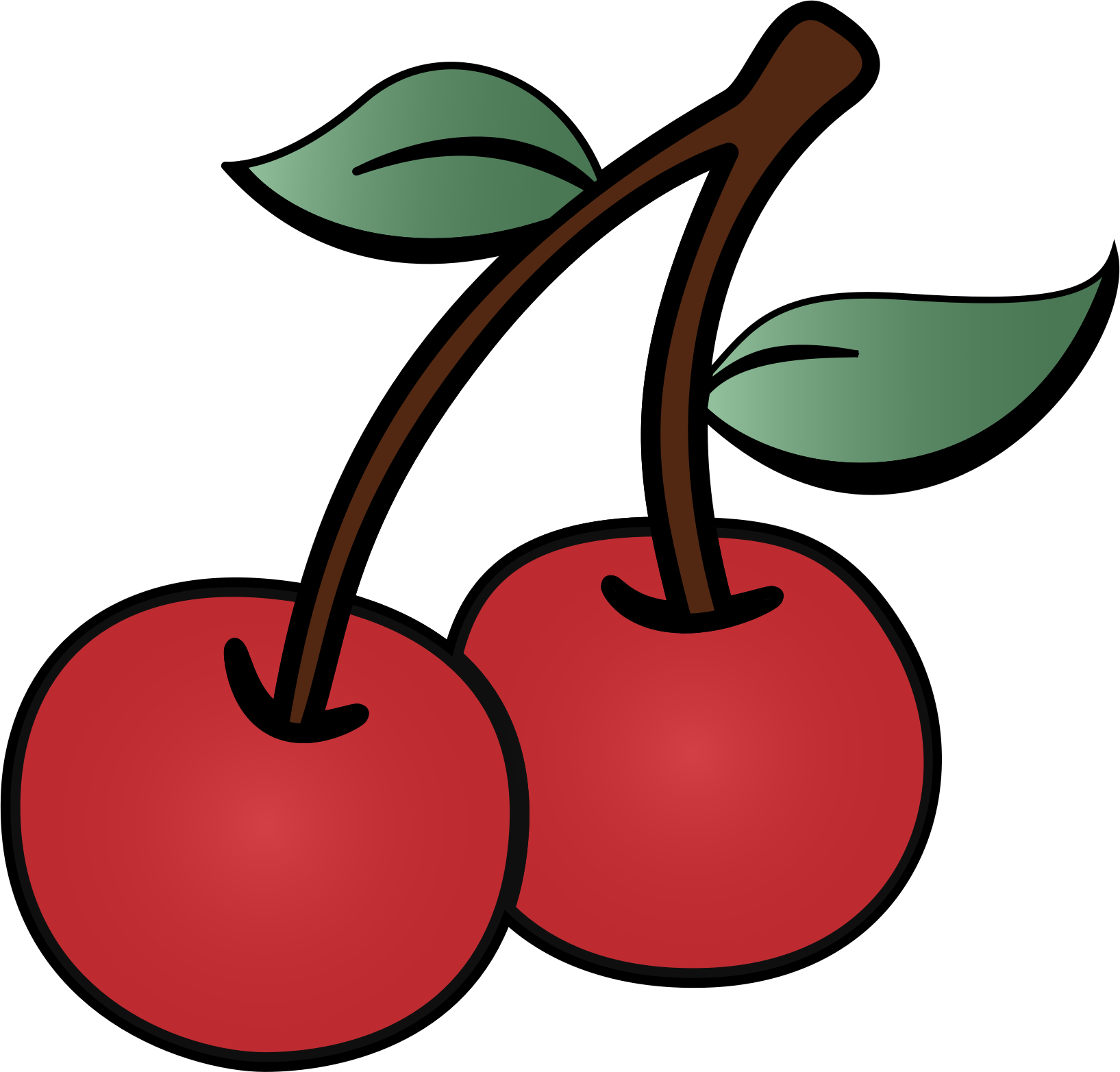 Cherry clipart cherry outline. Two cherries big image