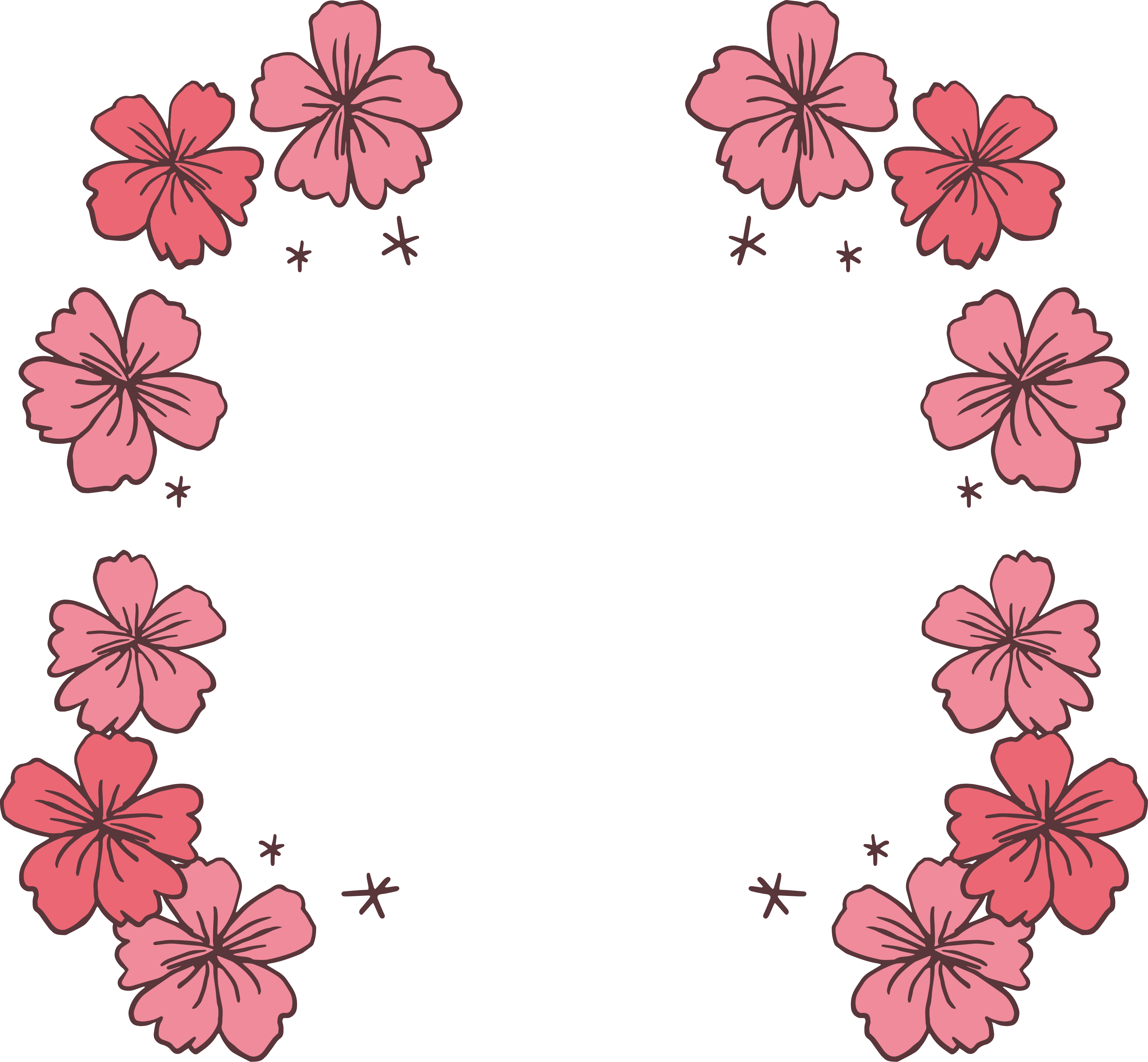 Cherry blossom border png. Pink icon hand painted