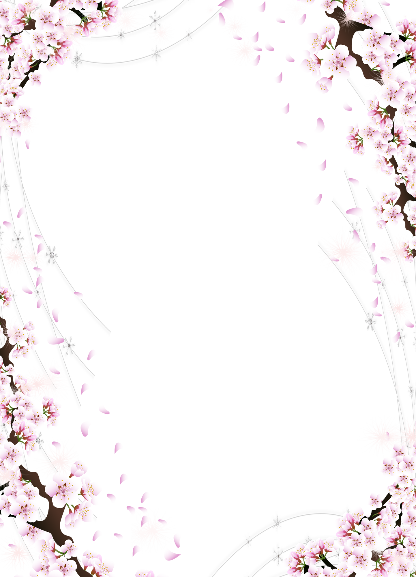 Cherry blossom border png. Beautiful transparent photo frame