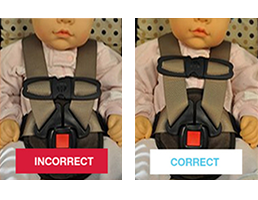 Chest clip armpit level. Child passenger safety week