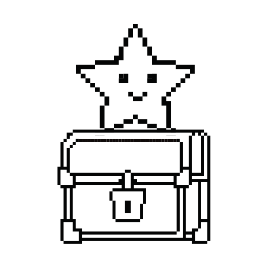Chest clip diagram. Pixelated treasure with star