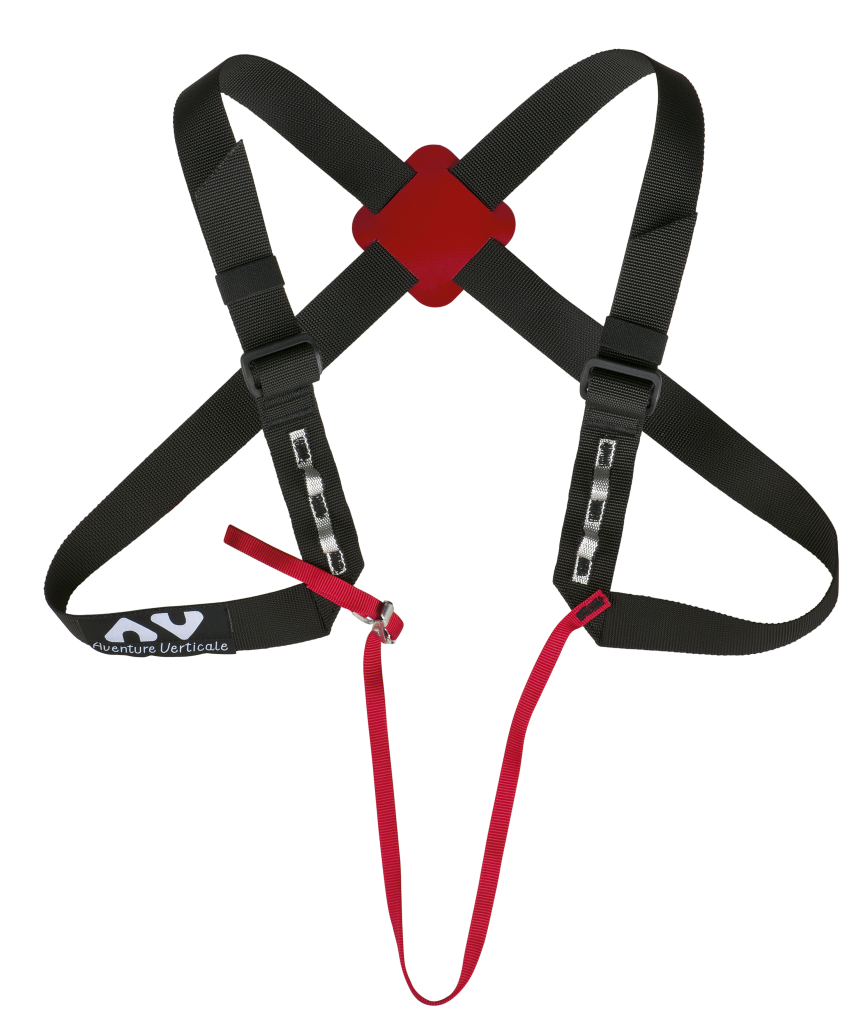 Chest clip harness tie. Harnesses and helmets access