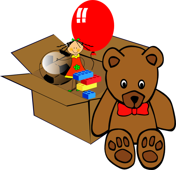 Chest clipart small. Box full of toys