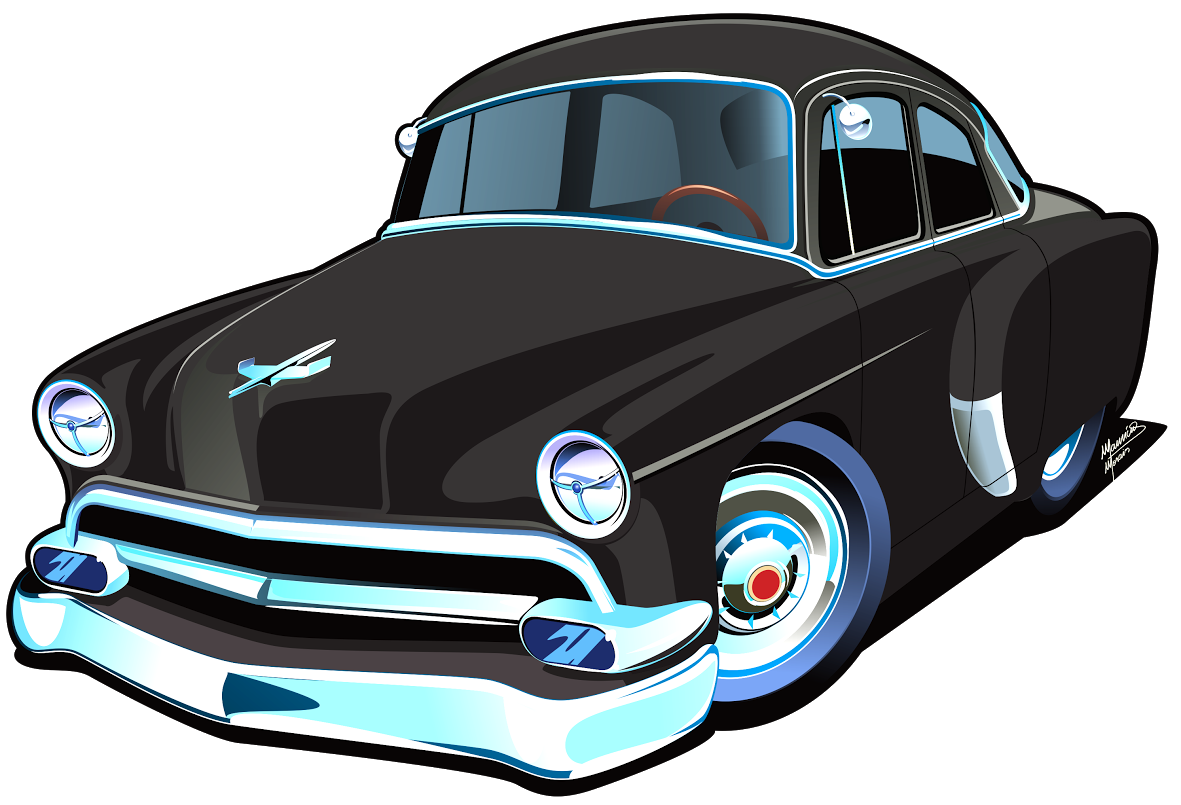 Chevrolet vector 54 drawing. Belair cartoon by the