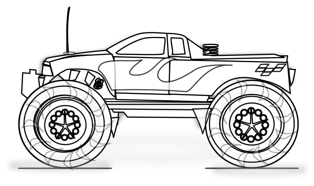 Mercedes drawing coloring page. Free printable monster truck