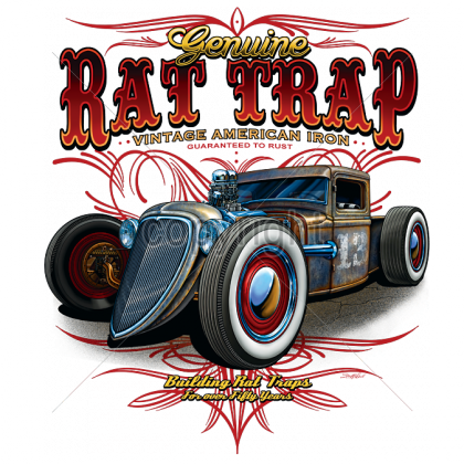 Chevy drawing hot rod. Mens t shirt rat