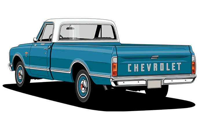 Chevy drawing old truck. Interesting with excellent chevrolet