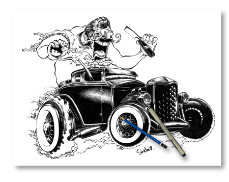 Chevy drawing rat rod. Hot art by sinclair
