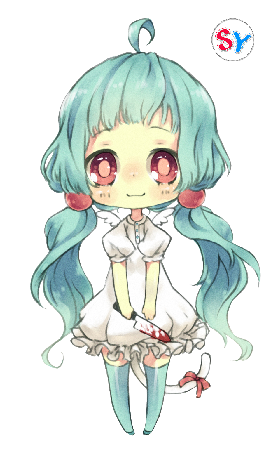 Chibi girl png. Ninapon render blue hair