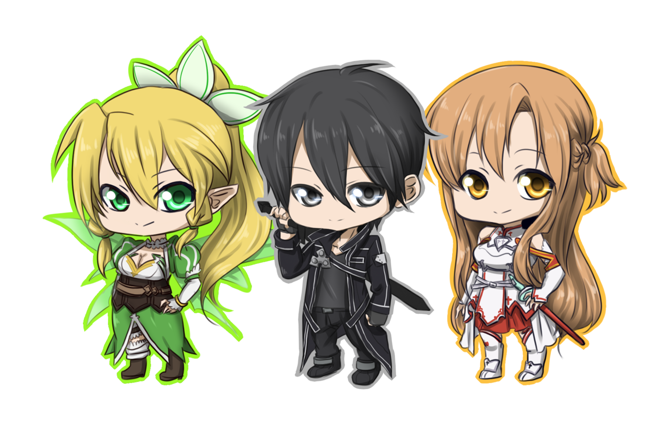 Chibis drawing sword art online. Collection of chibi