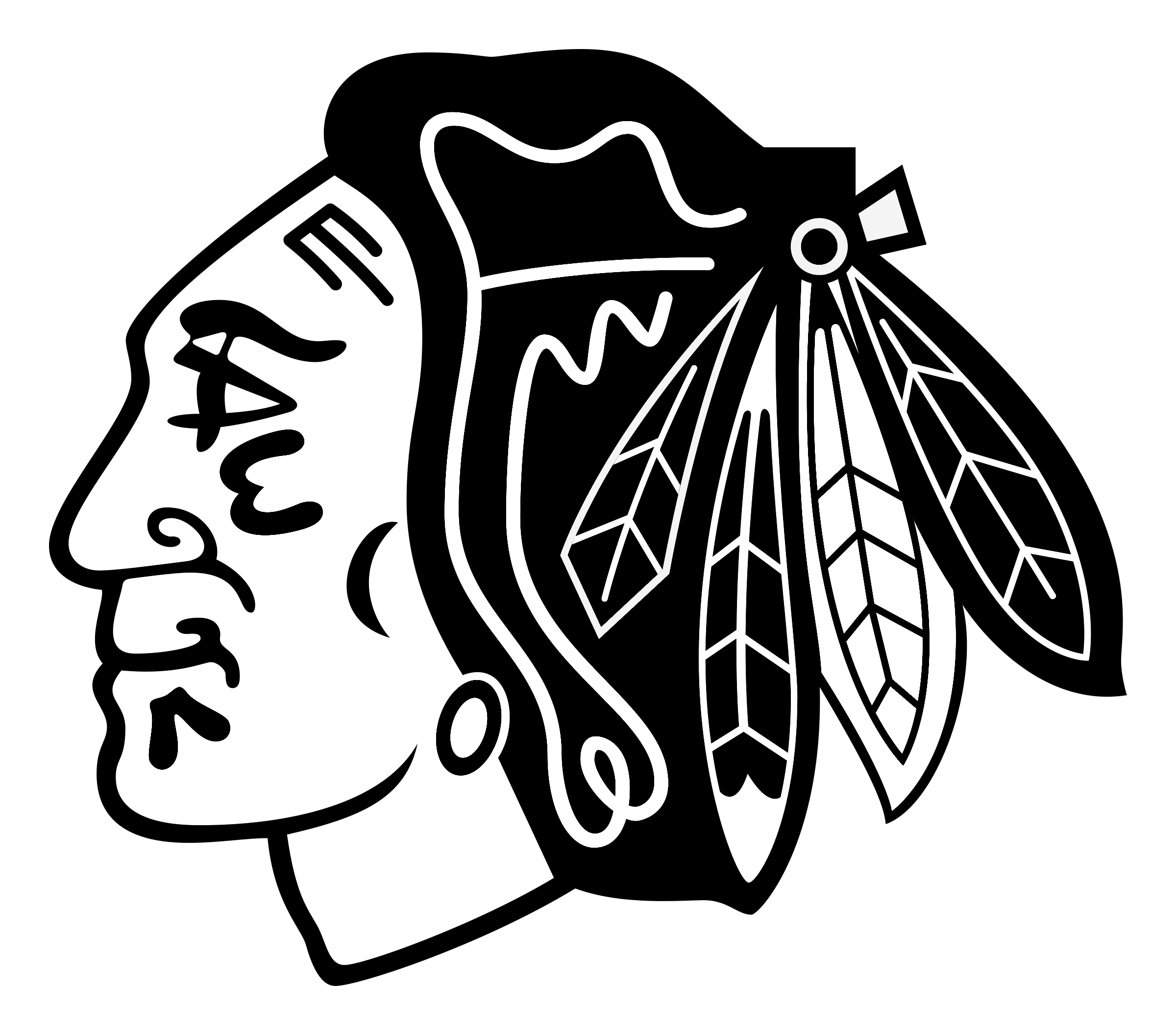 Logo png transparent vector. Blackhawks svg picture black and white download