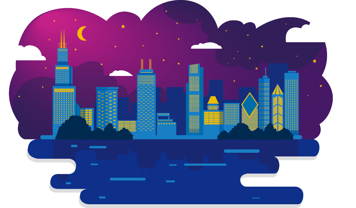 Chicago city night png. Skyline illustration cartoon sky