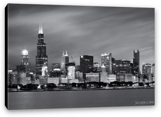 Chicago transparent black and white. Skyline at night canvas