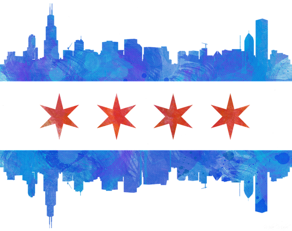 Chicago transparent watercolor. Flag onesie for sale