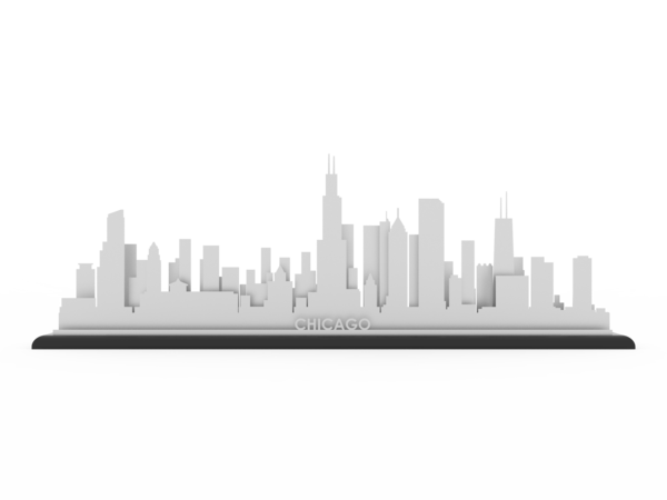 Chicago skyline png. Stainless steel cut map