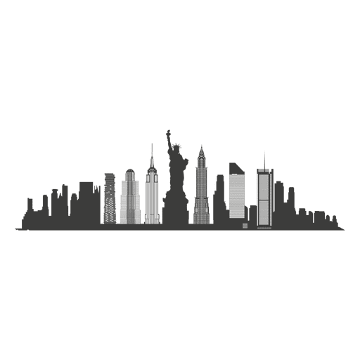 Chicago skyline silhouette png. New york transparent svg