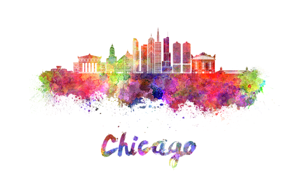 Chicago transparent watercolor. Skyline in onesie for