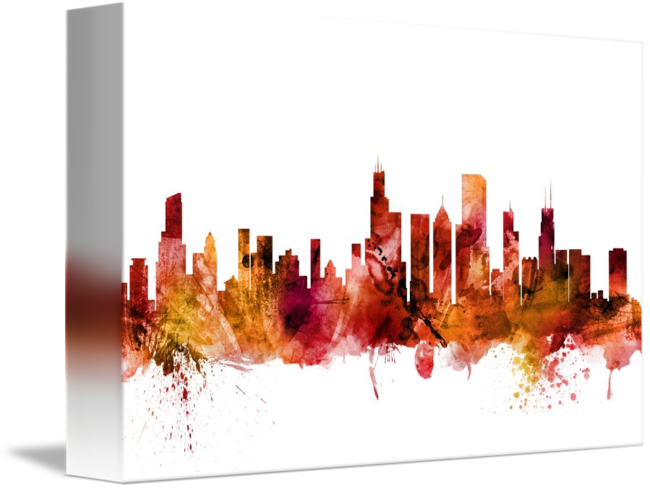 Chicago transparent watercolor. Illinois skyline by michael
