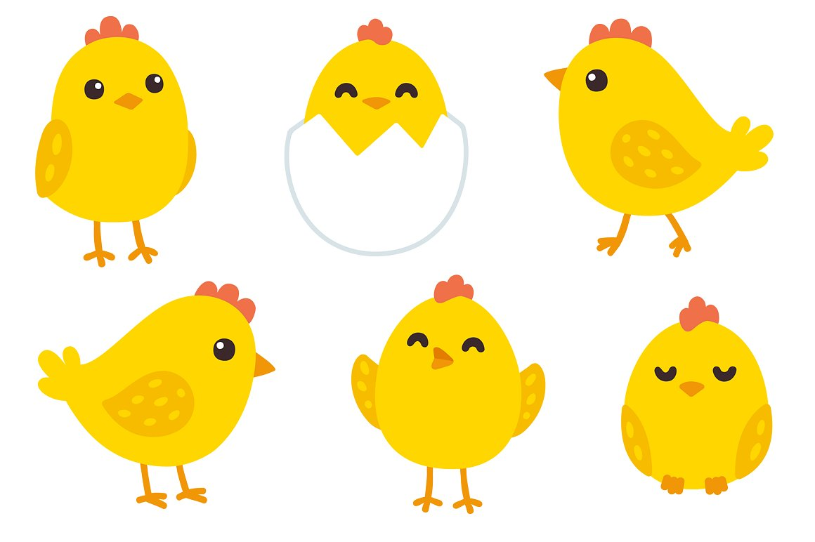 Chick clipart baby hen. Cute chickens patterns illustrations