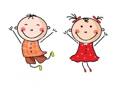 Chick clipart design. Happy boy and girl