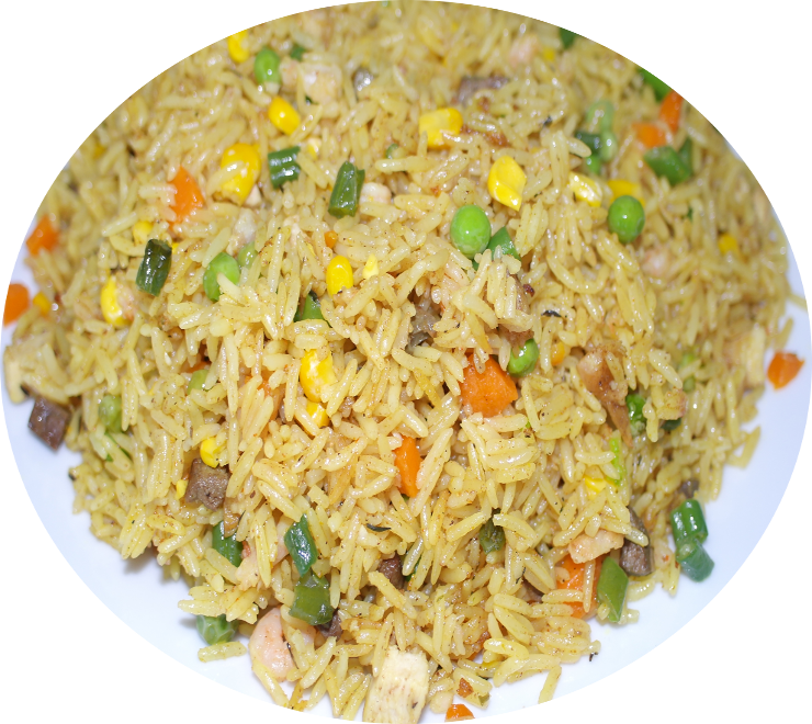 Chicken fried rice png. Nigerian served with bbq