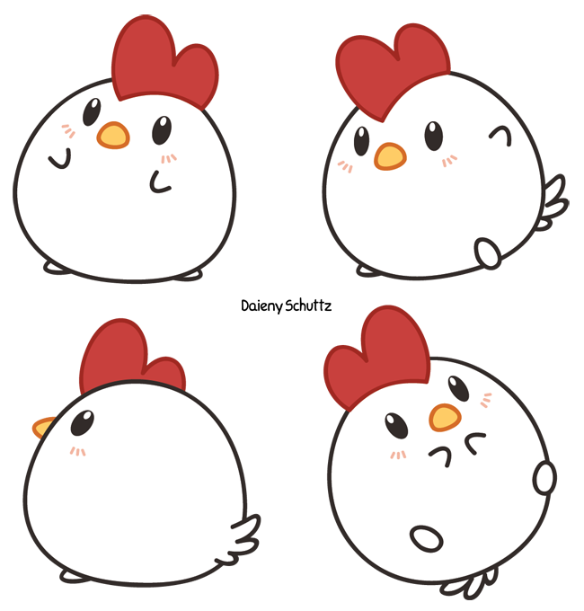 Hen vector cute. Cartoon chicken drawing at